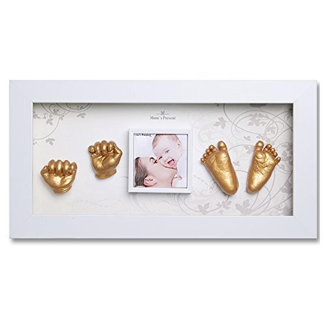 友情ダウンタウンウガンダMomsPresent 赤ちゃん 手形 足形 WHITE FRAMEで3DプリントDIYキットをキャスティング(WH-6-雪の華) [並行輸入品]
