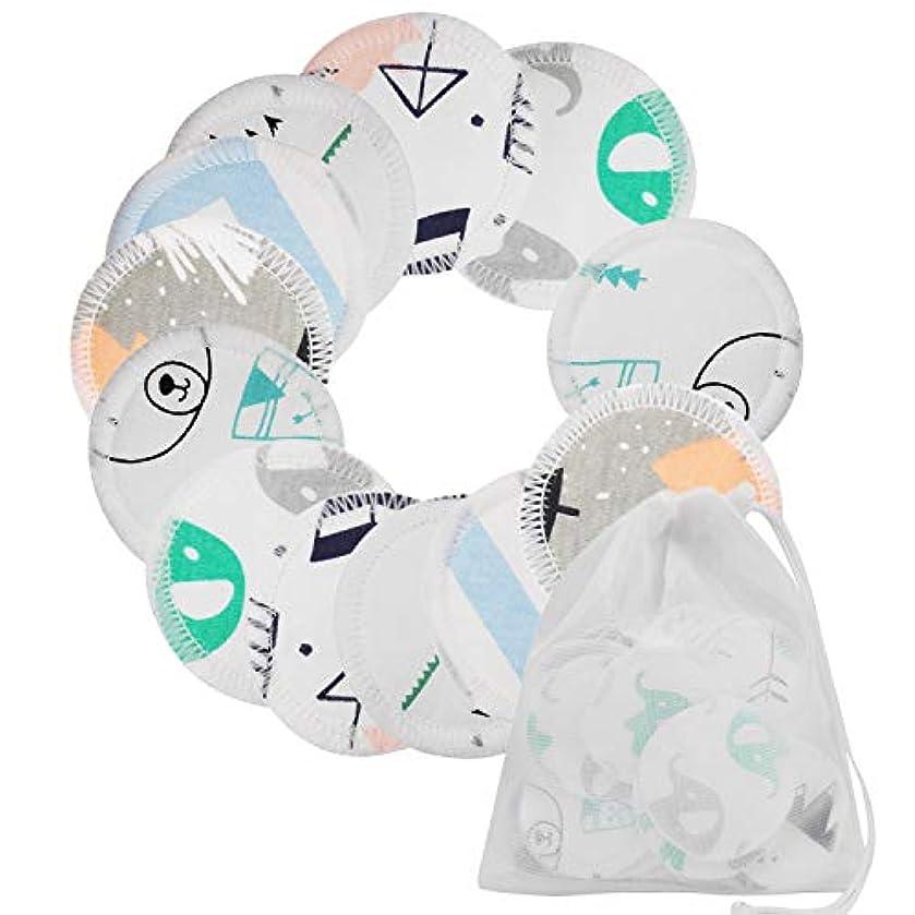 異形全体法令12ピース3層再利用可能な洗えるラウンドメイククレンジングリムーバーパッドランドリーバッグ用女性女の子ホーム毎日使用6.5センチ直径