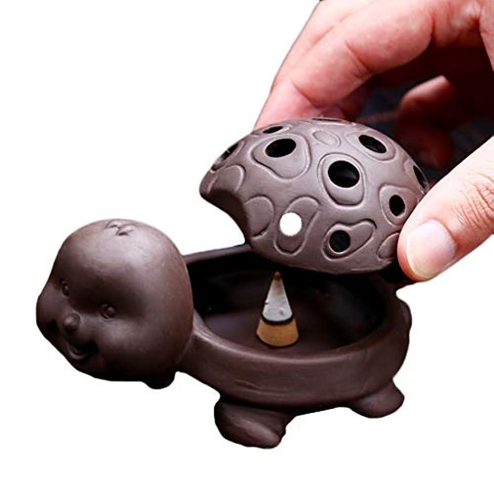 テロ楽しいスラックセラミック香炉アロマ精製空気香ホルダーホーム禅白檀炉仏仏香オイルバーナー (Color : Brown)