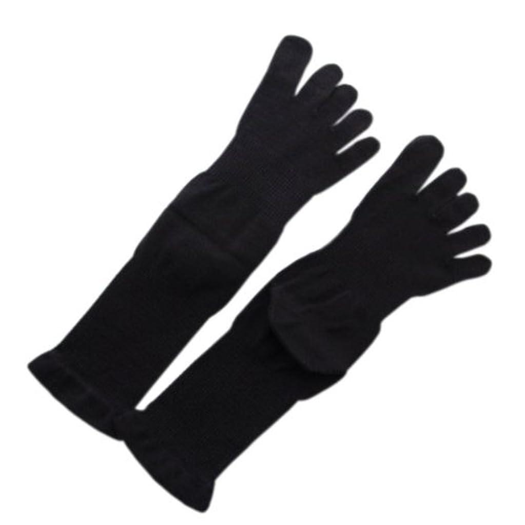 パースブラックボロウ日焼け壊す5本指薄手ソックス 黒M:オーガニックコットン100%足首を締め付けないソックス!