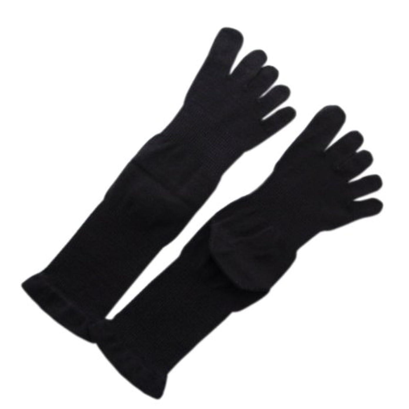 例示する無限大靴5本指薄手ソックス 黒M:オーガニックコットン100%足首を締め付けないソックス!