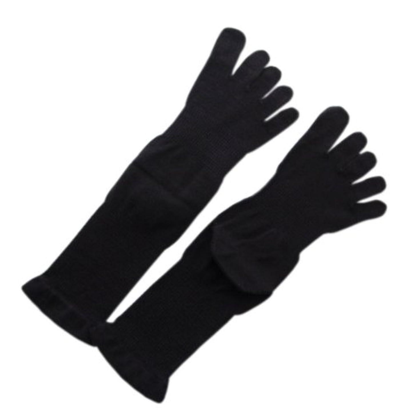 5本指薄手ソックス 黒M:オーガニックコットン100%足首を締め付けないソックス!