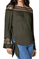 Keaac 女性カジュアルレースステッチ純粋色ネクタイノットTシャツブラウストップス ArmyGreen XS