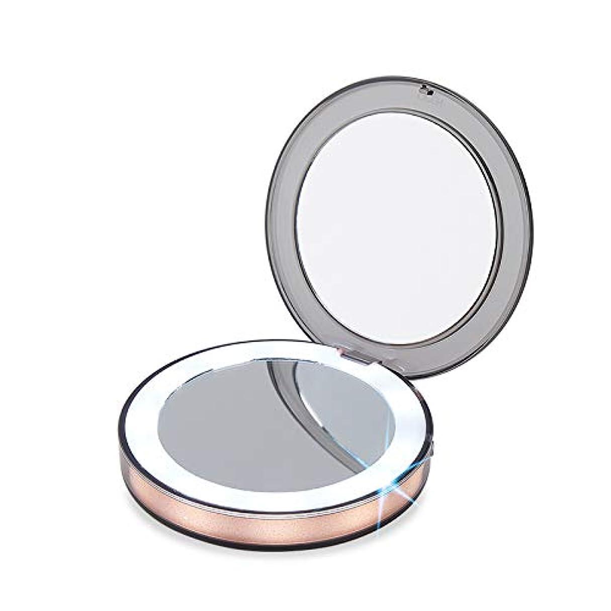 太鼓腹ナイトスポットレキシコンGINEAN 照明を有する旅行装飾鏡のタッチスイッチ装飾鏡の 1 倍/3 倍ルーペの手持ち式折り畳み式コンパクトミラー LED ライト化粧品用キャンプ個人の用途と旅行
