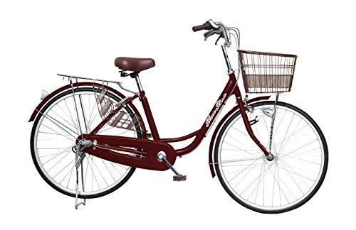 パンクしにくいタフネスタイヤ 自転車 AJC-26NK [カラー:ブラウン] 26インチ 壊れにくいシマノ社製内装3段ギア カゴ付き LEDオートライト付 シティサイクル 通勤 通学 に最適 災害 緊急時にもお奨め!