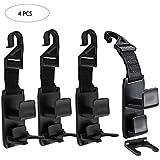 GCOA 4 Pack Magic Car Headrest Hooks,Purse Hanger Headrest Hook Holder for Car Seat Organizer Behind Over The Back Seat Car Hooks-Hang Purse or Grocery Bags,Black