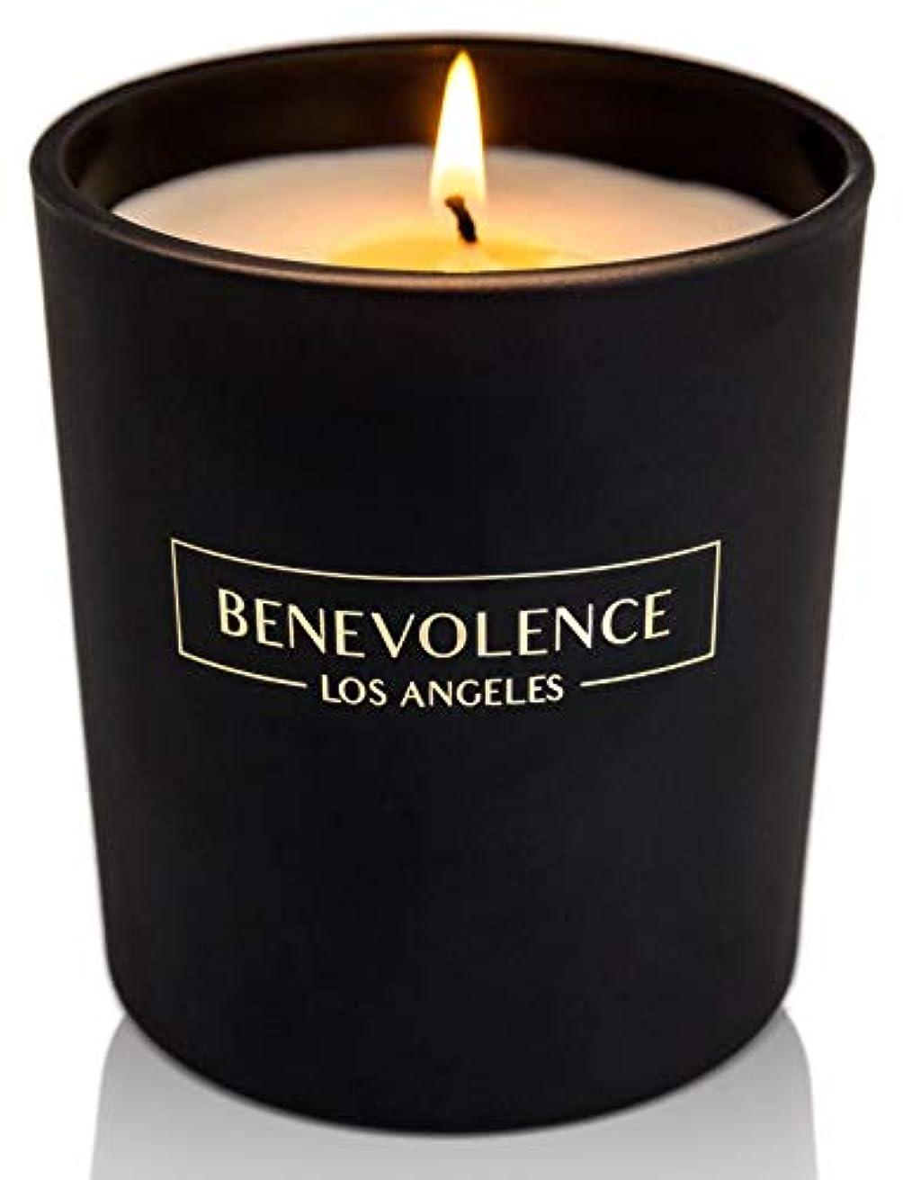 (Rose + Sandalwood) - Soy Scented Candle Natural Rose & Sandalwood Strong Fragrance Matte Black Glass for Charity