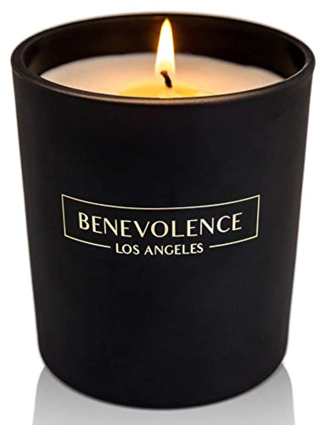 ペンフレンド多様体使い込む(Rose + Sandalwood) - Soy Scented Candle Natural Rose & Sandalwood Strong Fragrance Matte Black Glass for Charity