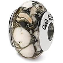 925 Sterling Silver Charm For Bracelet White Mosaic Magnesite Stone Bead From The Earth Fine Jewelry Gifts For Women For Her