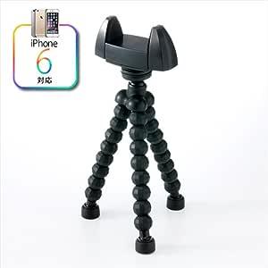 サンワダイレクト iPhone6 iPhone5s スマートフォン 三脚 ブラック 200-CAM013BK