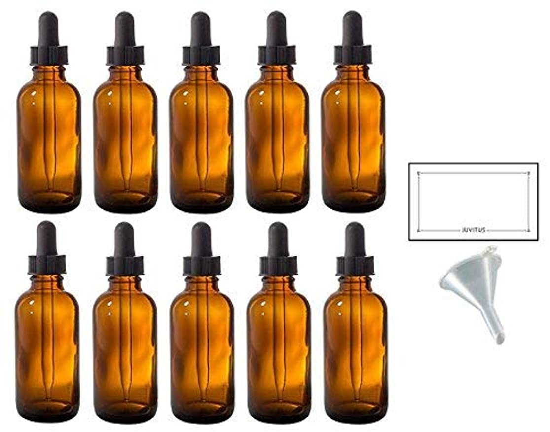 2 oz Amber Glass Boston Round Dropper Bottle (10 pack) + Funnel and Labels for essential oils, aromatherapy, e-liquid...