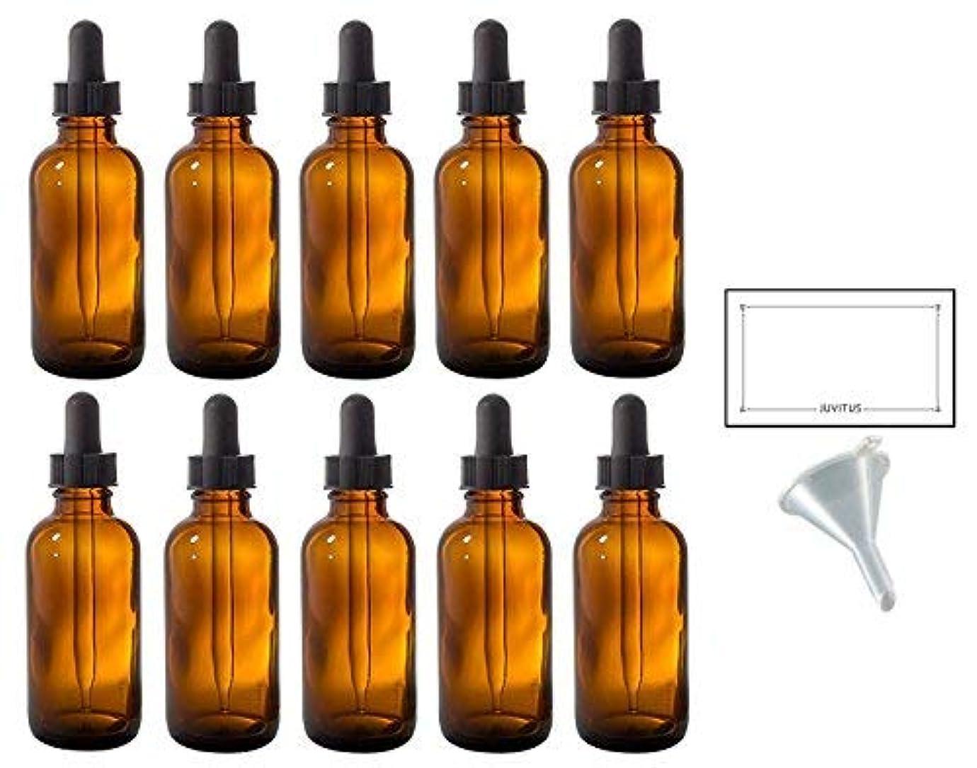 塗抹打撃迷路2 oz Amber Glass Boston Round Dropper Bottle (10 pack) + Funnel and Labels for essential oils, aromatherapy, e-liquid...