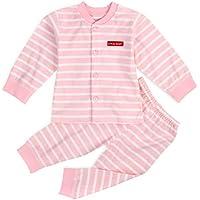 YUEGUANG キッズ パジャマ ベビー服 子どもルームウェア キッズ肌着 優れた通気性 前開きセットストライプ柄 可愛い 春秋 カジュアル (70cm, ピンク)