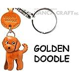 本革製 犬キーホルダー ゴールデンドゥードル VANCA CRAFT (日本製 職人の手作り)
