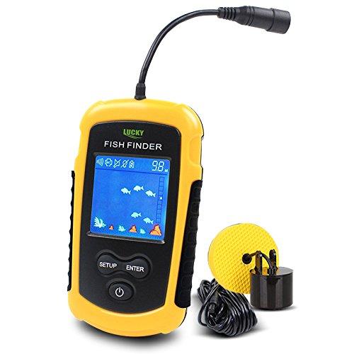 Lucky携帯式有線魚群探知機ソナー検知器魚探し器主流200KHz、45°広い探査