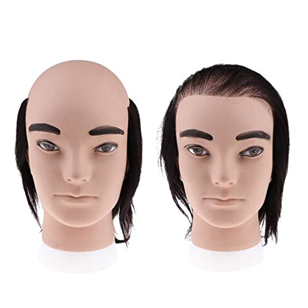 肝アンペア航空T TOOYFUL 2本 男性 マネキンヘッド 美容マネキン 理髪トレーニング 織りヘッド 柔らかい 人毛 再利用可能