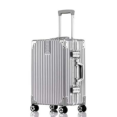 ビルガセ(Vilgazz) スーツケース アルミフレーム 軽量 キャリーケース 耐衝撃 キャリーケース 機内持込 キャリーバッグ 人気 大型 TSAロック付 静音 旅行出張 ヘアライン仕上げ 1年保証 シルバー Silvery Sサイズ 約43L