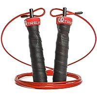 縄跳び ウエイトなわとび トレーニング 超高速回転 長さ調整可 1秒装置 ワイヤーロープ ステンレスボール 金属製 ジャンピングロープ リング付き 携帯用ポーチ付き 3.0m+3.5m