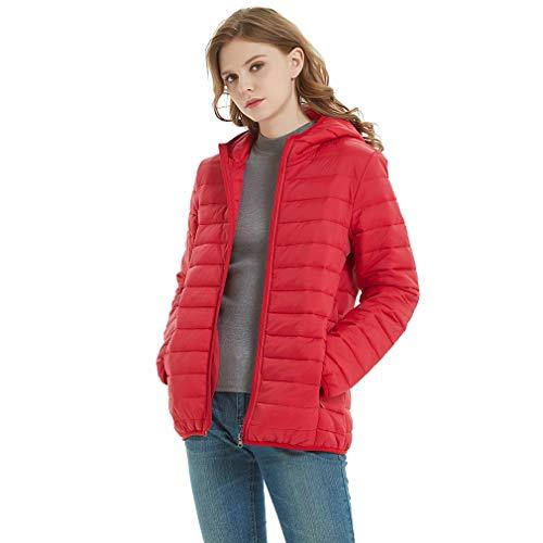 ダウンジャケット レディース 軽量 防風 防寒 ダウン コート 暖かい ウルトラライト ライトダウン 女性 フード付き 春秋冬 レッド S