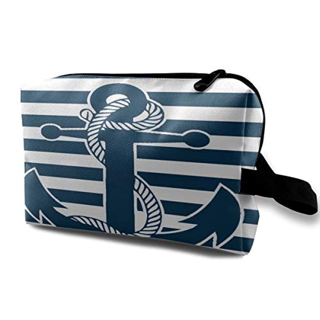 密接に中断くるみRetro Nautical Anchor 収納ポーチ 化粧ポーチ 大容量 軽量 耐久性 ハンドル付持ち運び便利。入れ 自宅?出張?旅行?アウトドア撮影などに対応。メンズ レディース トラベルグッズ