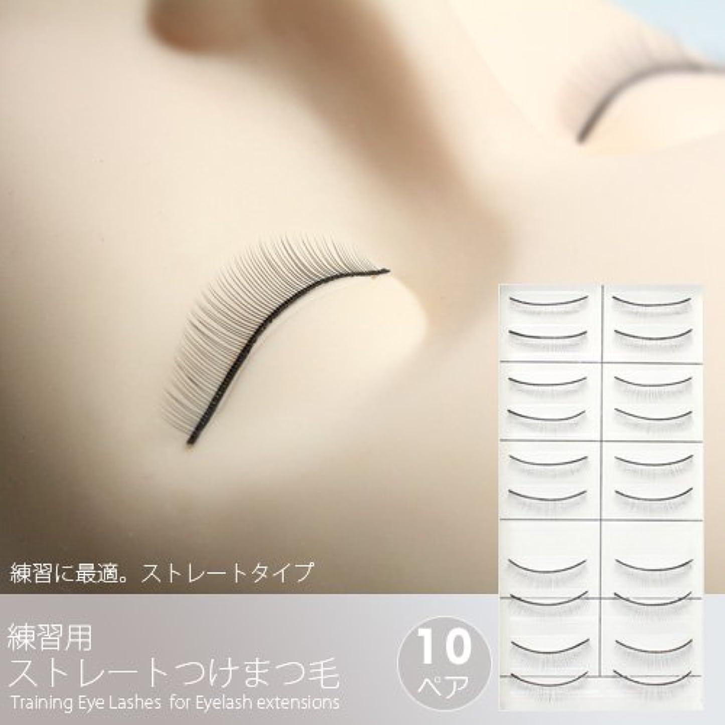 酸度衝撃付ける練習用ストレートつけまつげ(10ペア)[Training Eye Lashes ]/まつ毛エクステ商材