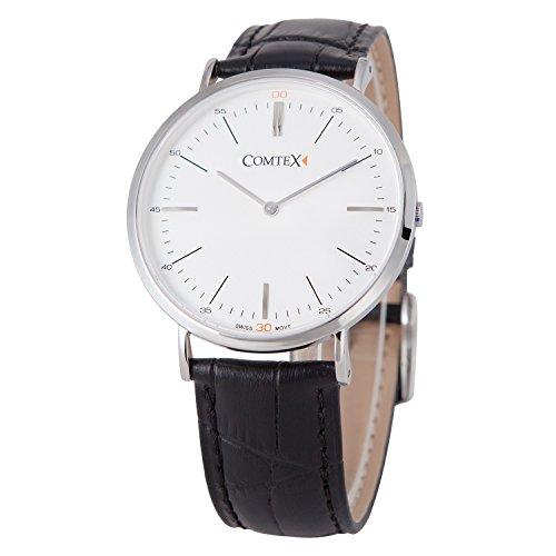 Comtex 時計 ブラック 薄型 6mm アナログ ウオッチ クオーツ 腕時計 メンズ レザー