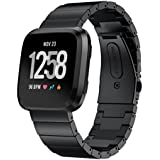 Elobeth for Fitbit Versa Solid Stainless Steel Accessory Band for Women Men, Replacement Bracelet Wrist Watch Strap for Fitbit Versa Fitness Smart Watch (Black 3)