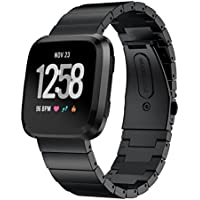 Kartice Compatible Fitbit Versa Bands, Kartice Premium Solid Stainless Steel Watch Bracelet Adjustable Folding Clasp Strap Compatible Fitbit Versa Smart Watch Fitness (Black 5)