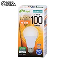 配光角約240度の広配光タイプ。 OHM LED電球 E26 100形相当 電球色 広配光 密閉形器具対応 LDA13L-G AS25 〈簡易梱包