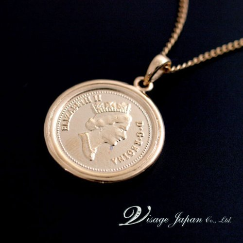 【Visage】エリザベス 2世 女王 1penny コイン ネックレス