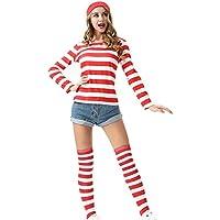 ウォーリーを探せ クリスマス コスプレ レディース 仮装 4点セット(シャツ・帽子・メガネ・ソックス) (ウォーリー服, XL)