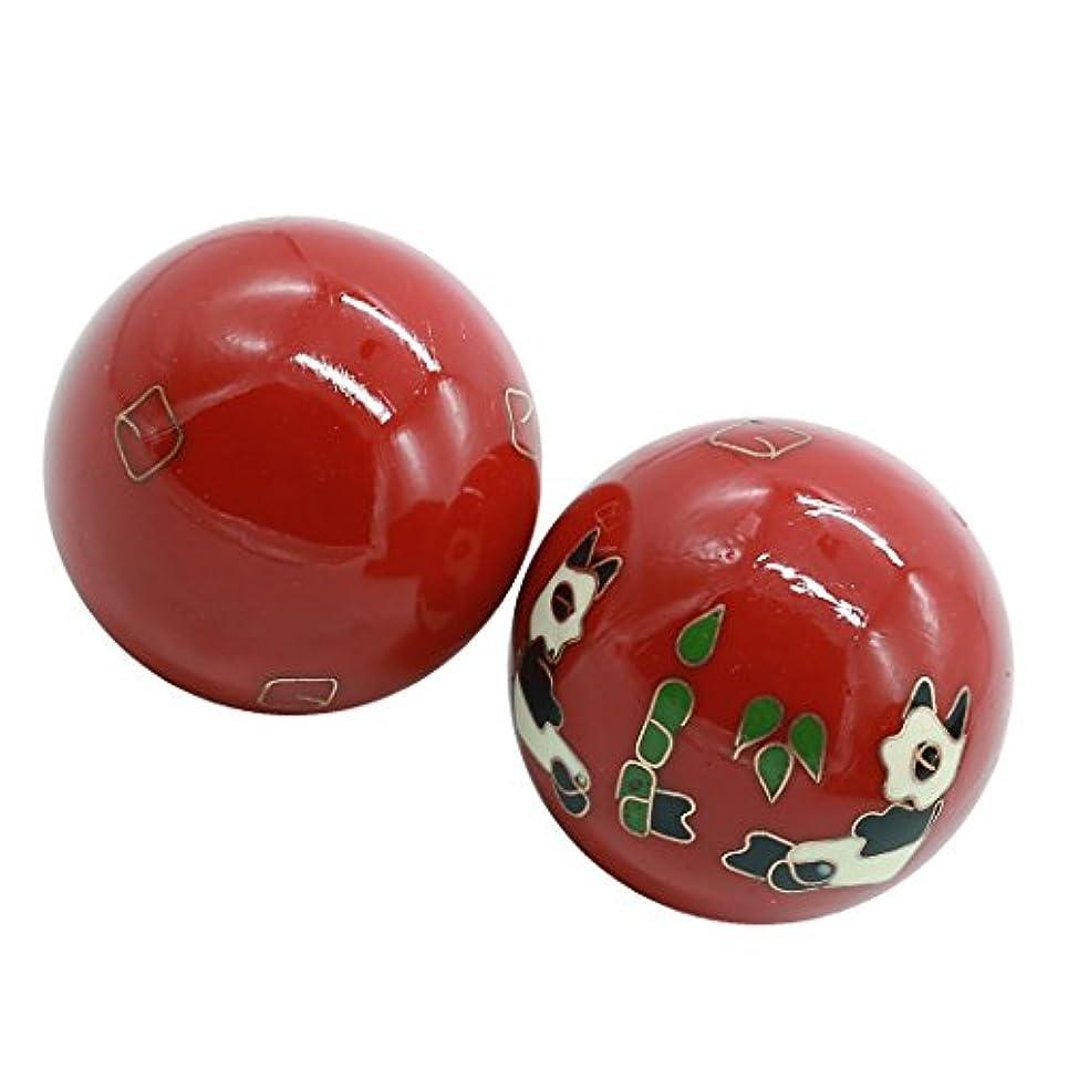 風水グッズ 健康球 健身球 脳 活性 ストレス トレーニング器具 手の機能回復 2個 パンダ (赤い, 50mm) INB169