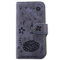 焼き込みアンティーク調スマホケース 手帳型 スリープガール【ネイビー|Qua phone PX LGV33】