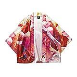 メンズ シャツJopinica カップルレトロローブエスニックプリント半袖シャツコート 漫画プリントコート 女の子男の子 メンズレディース M~2XL ゆったり 日系風文化祭 中華風 中国風遊び着 可愛い普段着