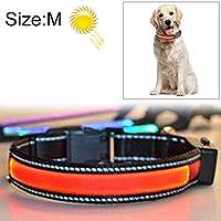 LUOWANXIU ペット用品 中型および大型犬ペットソーラー USB充電LEDライトカラー、首周サイズ:M、40-50cm ペット用 (色 : Red)