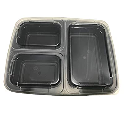 3 Compartments Meal Prep Container (Pack of 10), BUY 3 = 10% OFF + FREE SHIP, 25x19.2x5.5 cm - Reusable Food Storage Containers with Lid - Portion Control Lunch Bento Box – Microwave & Dishwasher Safe