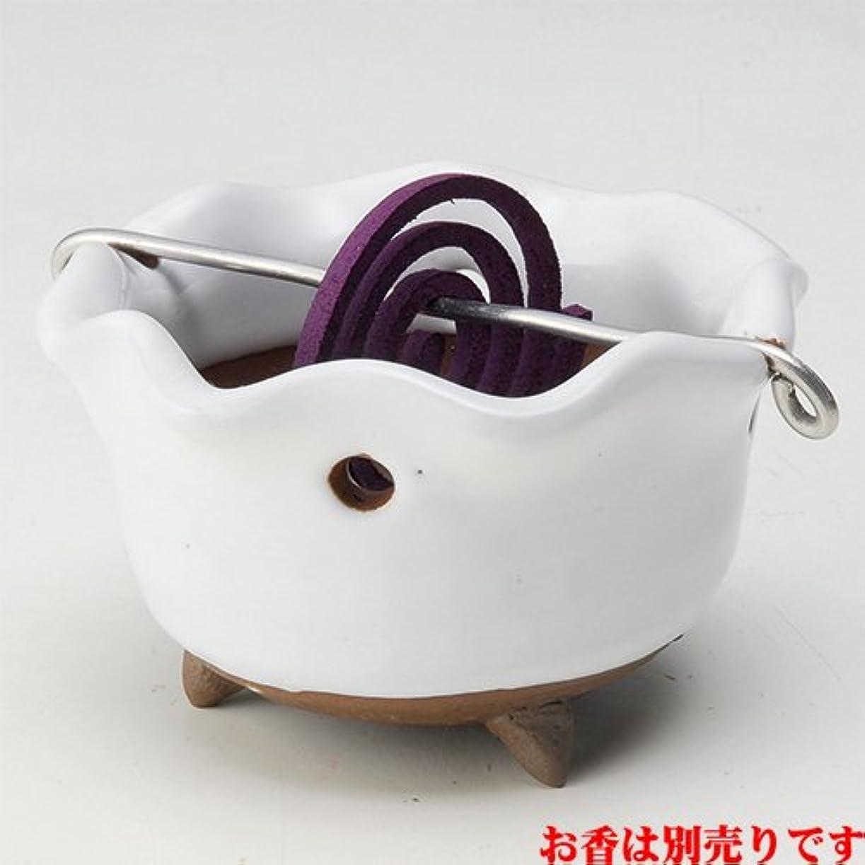 狂気両方鉄香皿 白志野 花型 香鉢 [R8.5xH5.3cm] HANDMADE プレゼント ギフト 和食器 かわいい インテリア