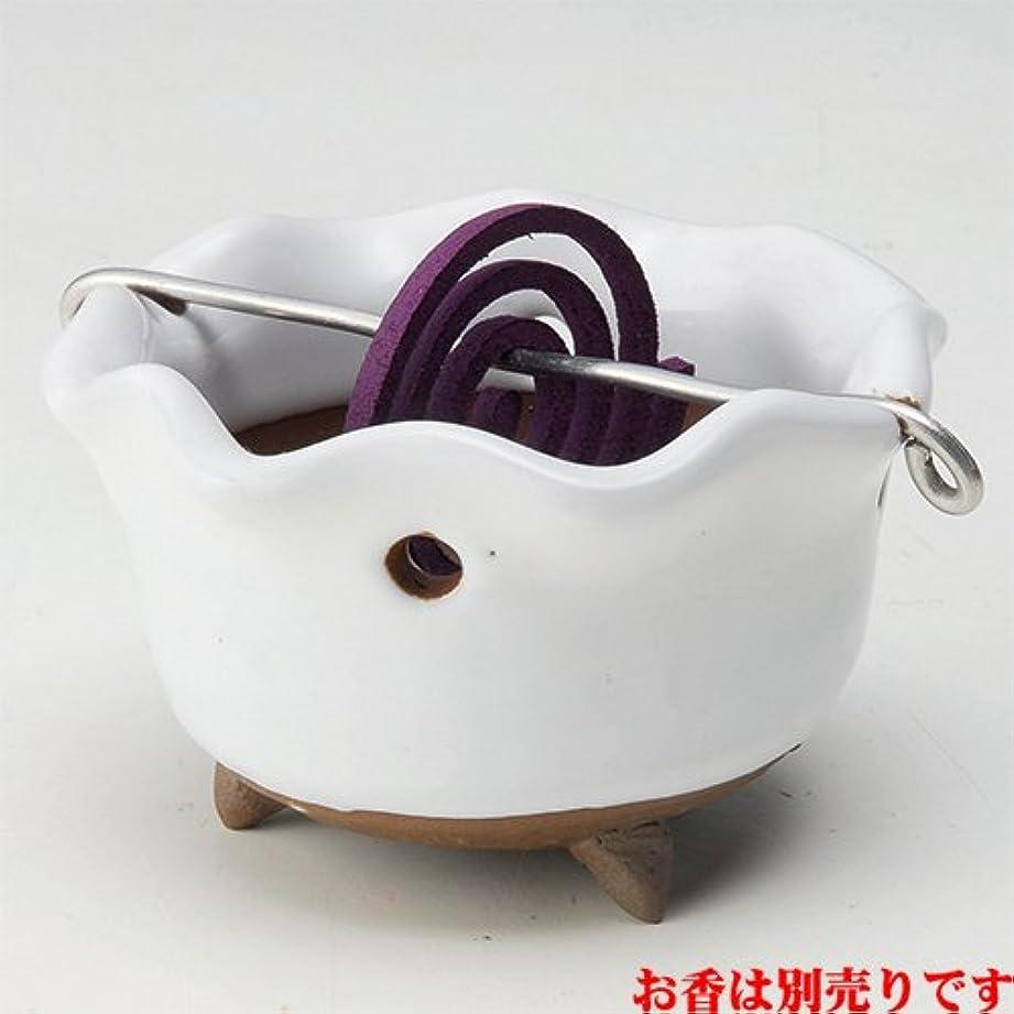 違反するひもファブリック香皿 白志野 花型 香鉢 [R8.5xH5.3cm] HANDMADE プレゼント ギフト 和食器 かわいい インテリア