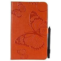 JDDR タブレットケース、 サムスンギャラクシータブE 9.6 SM-T560 / T561 / T565のための蝶の花の花柄のPUレザーウォレットスタンドタブレットケース (色 : オレンジ)