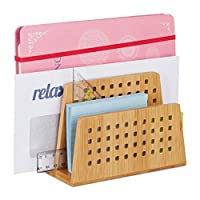 Relaxdays Bamboo Document Holder, 2 Perforated Compartments, Handy Letter Rack, Stationery Supplies, Natural, A5