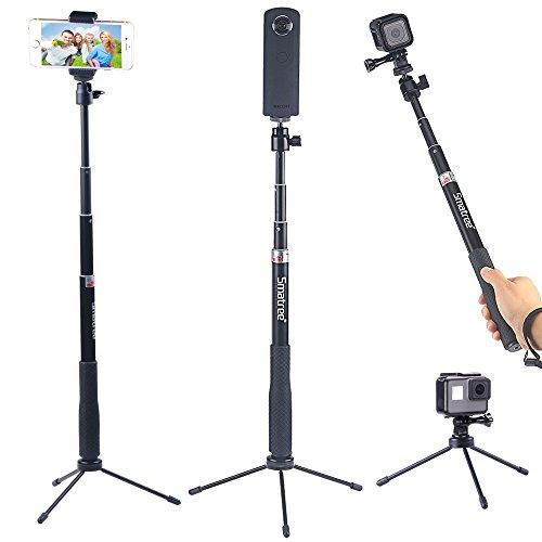 Smatree SmaPole QS RICOH THETAS 360°デジタルカメラ 及び スマートフォン用自撮棒 iphone android xperia など対応、 OLYMPUS TG-4 Tough、HERO Session GoPro 4,3+,3,&1/4ネジ穴コンパクトカメラも対応でき自撮棒 伸縮自在 防水(三脚付き)