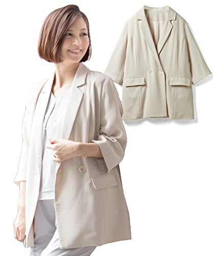 Sweet Mommy tailored double button handsome jacket georgette ribbon removable roll-up button 70% sleeve lining with formal large size office elegant maternity Maternity