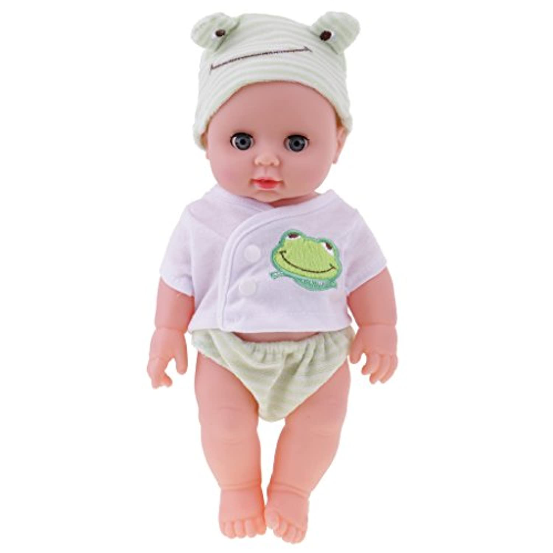 Lovoski  30cm  ビニール  赤ちゃん  人形  現実的 新生児  赤ちゃん  男の子 ドール 手作り 工芸品 3色選べる - グリーン