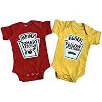Buzz Bear Studio Twins Outfits, Ketchup and Mustard Twin Set, Including 2 Premium Quality Bodysuits