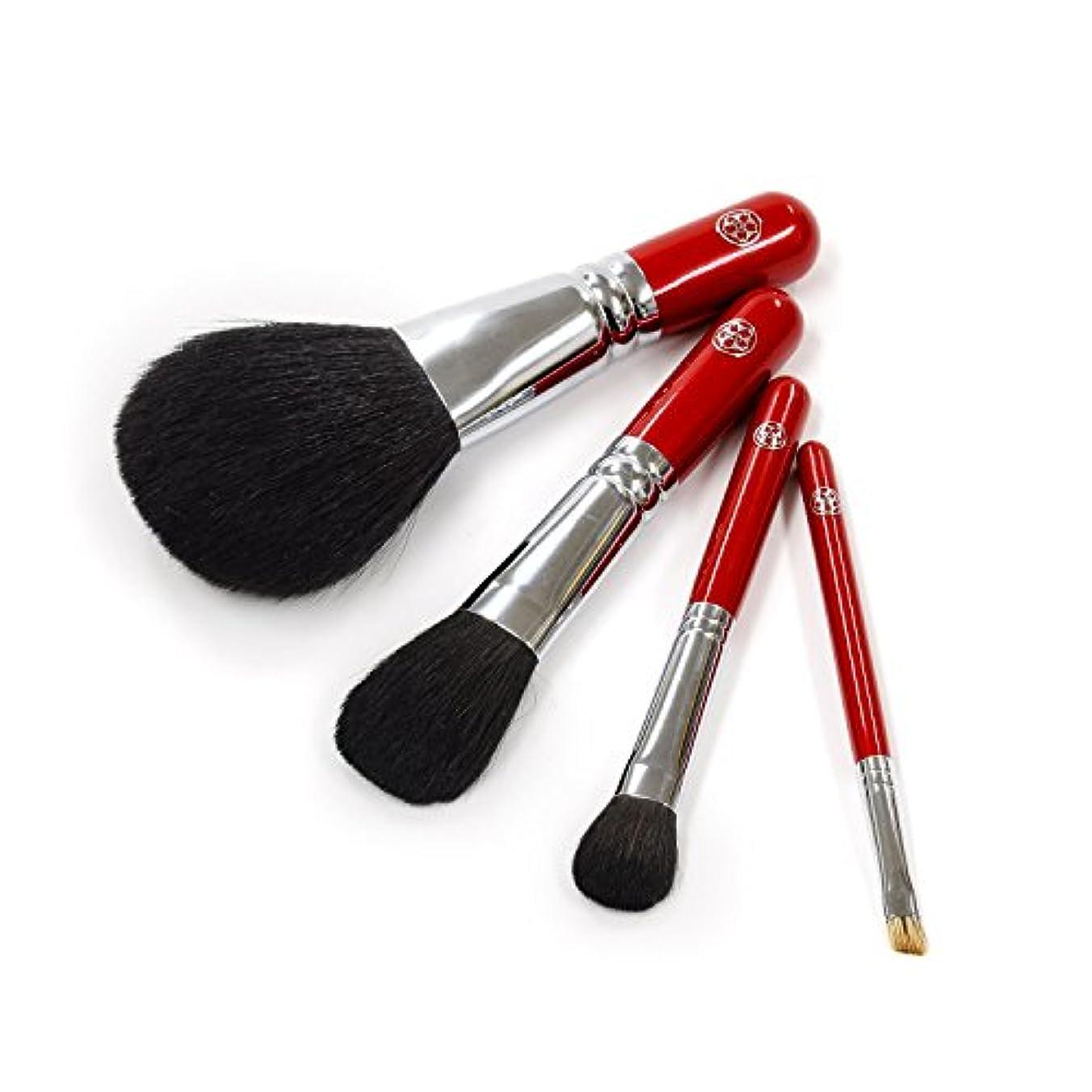 腐敗した政府技術的なARRS-S4aさくら筆 お顔の印象がグッと華やかに! 贅沢な化粧筆 4本セット パウダー チーク アイシャドー アイブロー 六角館さくら堂 ロゴ入り 女性の手になじみやすい赤軸ショートタイプ 熊野筆