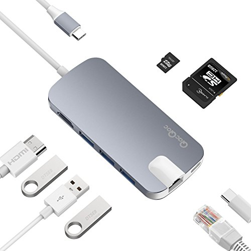 USB C ハブ Type C ハブ PD機能 4K HDMI ポート LANポート SDカードリーダ Micro SDポート 3*USB3.0ポート USB C充電ポート MacBook Air, MacBook Proなどに対応 EgoIggo GN30H (グレー)