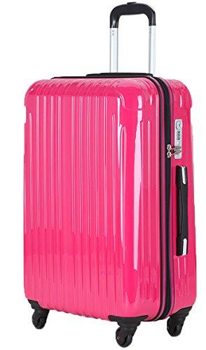 (ラッキーパンダ) Luckypandaスーツケース 超軽量 機内持ち込み TSAロック アウトレット TY001 キャリーバッグ キャリーケース かわいい キャリーバック ファスナー ハード バッグ バック 旅行かばん Suitcase Luggage amazon (S, マゼンタ)