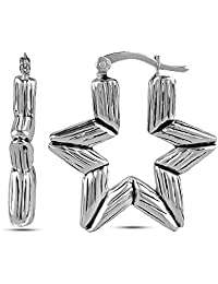 LeCalla Women's Sterling Silver Jewelry Antique Astronomy Bamboo Pattern Bali Hoop Earrings