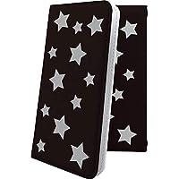 Alcatel PIXI4 手帳型ケース ブラック 黒 シルバー 星 星柄 アルカテル ピクシー イオンモバイル 手帳型ケース 星空 星型 pixi 4 夜空 宇宙