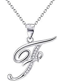 YFN Fashion Charm S925 Sterling Silver Cubic Zirconia 26 Letters Alphabet Pendant Necklace (Alphabet F)